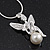Diamante/ Simulated Pearl 'Fairy' Pendant Necklace In Rhodium Plated Metal - 40cm/ 5cm Extension - view 3