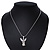 Diamante/ Simulated Pearl 'Fairy' Pendant Necklace In Rhodium Plated Metal - 40cm/ 5cm Extension - view 5