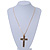 Large Contemporary Double Cross Pendant with Long Snake Chain In Gold Plating - 77cm Length - view 2