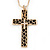 Large Contemporary Double Cross Pendant with Long Snake Chain In Gold Plating - 77cm Length