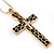 Large Contemporary Double Cross Pendant with Long Snake Chain In Gold Plating - 77cm Length - view 3