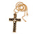Large Contemporary Double Cross Pendant with Long Snake Chain In Gold Plating - 77cm Length - view 5