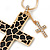Large Contemporary Double Cross Pendant with Long Snake Chain In Gold Plating - 77cm Length - view 6