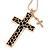 Large Contemporary Double Cross Pendant with Long Snake Chain In Gold Plating - 77cm Length - view 4