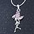 Delicate Alexandrite Coloured CZ 'Fairy' Pendant Necklace In Rhodium Plating - 42cm Length/ 5cm Extension - June Birth Stone - view 2