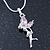 Delicate Alexandrite Coloured CZ 'Fairy' Pendant Necklace In Rhodium Plating - 42cm Length/ 5cm Extension - June Birth Stone - view 3