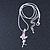 Delicate Alexandrite Coloured CZ 'Fairy' Pendant Necklace In Rhodium Plating - 42cm Length/ 5cm Extension - June Birth Stone - view 4