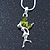Delicate Peridot Coloured CZ 'Fairy' Pendant Necklace In Rhodium Plating - 42cm Length/ 5cm Extension - August Birth Stone - view 2