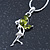 Delicate Peridot Coloured CZ 'Fairy' Pendant Necklace In Rhodium Plating - 42cm Length/ 5cm Extension - August Birth Stone - view 3