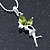 Delicate Peridot Coloured CZ 'Fairy' Pendant Necklace In Rhodium Plating - 42cm Length/ 5cm Extension - August Birth Stone - view 4