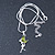 Delicate Peridot Coloured CZ 'Fairy' Pendant Necklace In Rhodium Plating - 42cm Length/ 5cm Extension - August Birth Stone - view 5