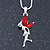 Delicate Garnet Coloured CZ 'Fairy' Pendant Necklace In Rhodium Plating - 42cm Length/ 5cm Extension - January Birth Stone - view 2