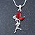 Delicate Garnet Coloured CZ 'Fairy' Pendant Necklace In Rhodium Plating - 42cm Length/ 5cm Extension - January Birth Stone - view 5