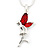 Delicate Garnet Coloured CZ 'Fairy' Pendant Necklace In Rhodium Plating - 42cm Length/ 5cm Extension - January Birth Stone