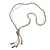 Long Metallic Silver Faceted Glass Bead & Gold Beaded Chain Tassel Necklace - 76cm Length/ 12cm Tassel