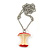'Apple Core' Resin Pendant In Silver Plating - 44cm Length/ Adjustable up to 74cm