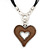 Large Resin Open Heart Pendant On Black Cords In Rhodium Plating - 72cm Length/ 8cm Length - view 1