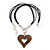 Large Resin Open Heart Pendant On Black Cords In Rhodium Plating - 72cm Length/ 8cm Length - view 2