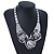 Chunky Triple Rose Ethnic Necklace In Rhodium Plating - 42cm Length/ 7cm Extender - view 2