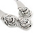 Chunky Triple Rose Ethnic Necklace In Rhodium Plating - 42cm Length/ 7cm Extender - view 9