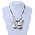 Large Solid 'Butterfly' Pendant Necklace In Silver Plating - 38cm Length/ 7cm Extension - view 6
