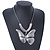 Large Solid 'Butterfly' Pendant Necklace In Silver Plating - 38cm Length/ 7cm Extension