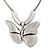 Large Solid 'Butterfly' Pendant Necklace In Silver Plating - 38cm Length/ 7cm Extension - view 7