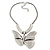 Large Solid 'Butterfly' Pendant Necklace In Silver Plating - 38cm Length/ 7cm Extension - view 8