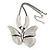 Large Solid 'Butterfly' Pendant Necklace In Silver Plating - 38cm Length/ 7cm Extension - view 9