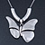 Large Solid 'Butterfly' Pendant Necklace In Silver Plating - 38cm Length/ 7cm Extension - view 2