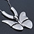 Large Solid 'Butterfly' Pendant Necklace In Silver Plating - 38cm Length/ 7cm Extension - view 3