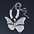 Large Solid 'Butterfly' Pendant Necklace In Silver Plating - 38cm Length/ 7cm Extension - view 4
