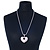 Rhodium Plated Swarovski Crystal 'Queen of Hearts' Pendant on Long Lantern Chain - 70cm (6cm Extension) - view 2