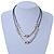Two Row Bead & Tunnel On Mesh Chain Necklace In Burn Silver Metal - 44cm Length/ 6cm Extension - view 2