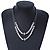 Two Row Bead & Tunnel On Mesh Chain Necklace In Burn Silver Metal - 44cm Length/ 6cm Extension - view 6