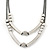 Two Row Bead & Tunnel On Mesh Chain Necklace In Burn Silver Metal - 44cm Length/ 6cm Extension - view 4