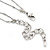 Long 2 Strand Heart Necklace In Silver Tone Metal - 90cm L/ 7cm Ext - view 7
