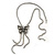 Long Vintage Butterfly With Tassel Pendant Mesh Chain Necklace - 62cm length/ 7cm Extension - view 2