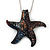 Glittering Multicoloured Glass 'Starfish' Pendant Necklace In Silver Plating - 42cm Length/ 7cm Extender
