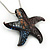Glittering Multicoloured Glass 'Starfish' Pendant Necklace In Silver Plating - 42cm Length/ 7cm Extender - view 2