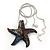 Glittering Multicoloured Glass 'Starfish' Pendant Necklace In Silver Plating - 42cm Length/ 7cm Extender - view 3