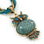 Vintage Bead 'Green Grey Owl' Pendant Necklace In Antique Gold Metal - 38cm Length/ 5cm Extender - view 3