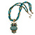 Vintage Bead 'Green Grey Owl' Pendant Necklace In Antique Gold Metal - 38cm Length/ 5cm Extender - view 4