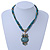 Vintage Bead 'Green Grey Owl' Pendant Necklace In Antique Gold Metal - 38cm Length/ 5cm Extender - view 2