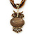 Vintage Bead 'Brown Owl' Pendant Necklace In Antique Gold Metal - 38cm Length/ 5cm Extender - view 1