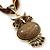 Vintage Bead 'Brown Owl' Pendant Necklace In Antique Gold Metal - 38cm Length/ 5cm Extender - view 3