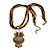 Vintage Bead 'Brown Owl' Pendant Necklace In Antique Gold Metal - 38cm Length/ 5cm Extender - view 4