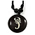 Unisex Black/ White Resin Medallion 'Scorpio' Cotton Cord Pendant - Adjustable