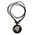 Unisex Black/ White Resin Medallion 'Dragon' Cotton Cord Pendant - Adjustable - view 2