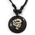 Unisex Black/ White Resin Medallion 'Dragon' Cotton Cord Pendant - Adjustable - view 3